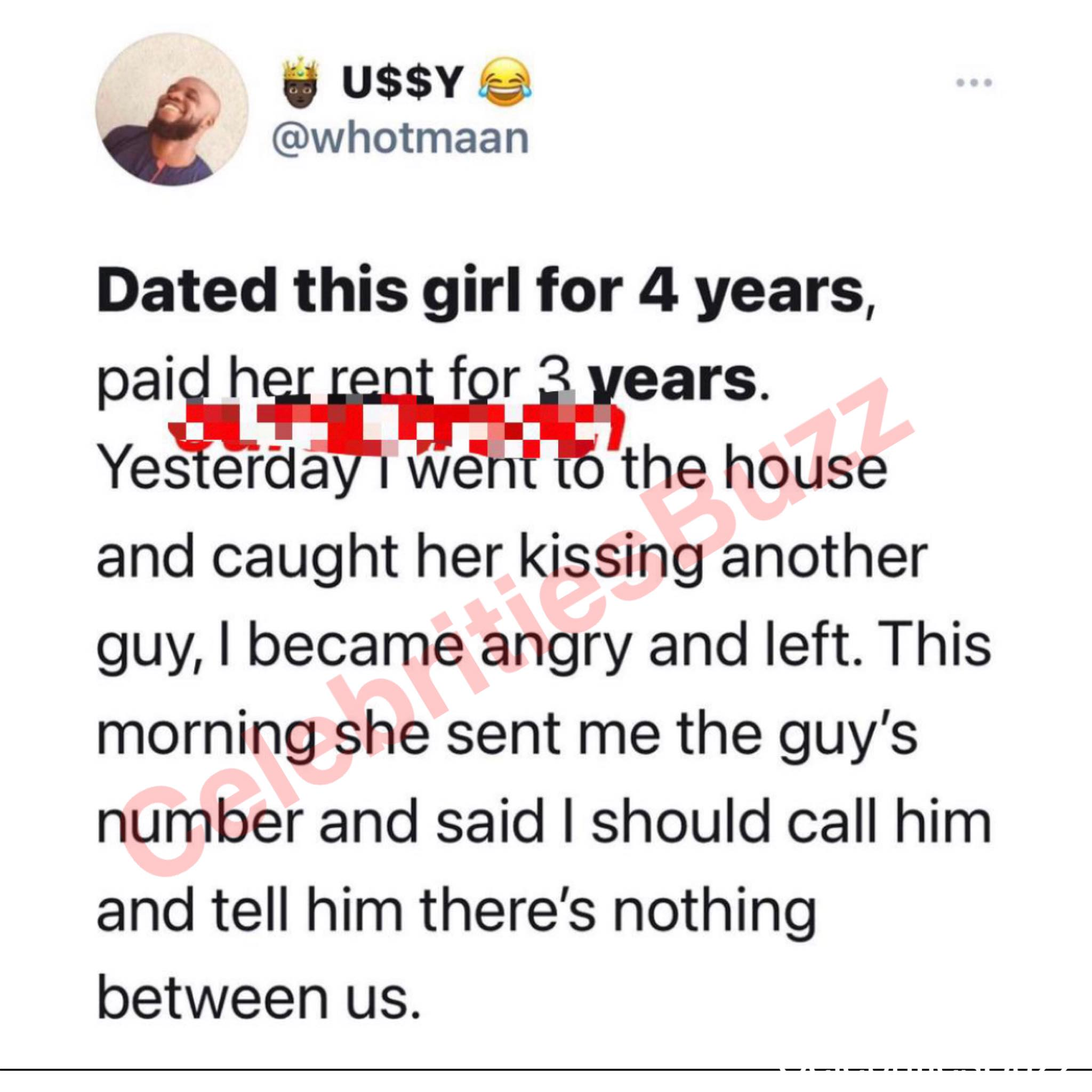 Dated this girl for 4 years, paid her rent for 3 years but I caught her yesterday kissing another man; Broken hearted guy