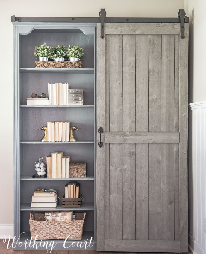painted and styled bookcases with farmhouse decor