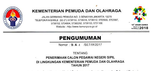 Silahkan Daftar !! Seleksi CPNS Kementerian Pemuda Dan Olahrga 2017 Untuk D1 Hingga S1 !