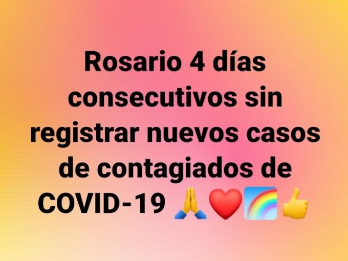 4 días consecutivos sin nuevos casos de contagiados de COVID-19 en Rosario