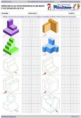 Ficha obtención vistas ortogonales de un objeto. Diédrico