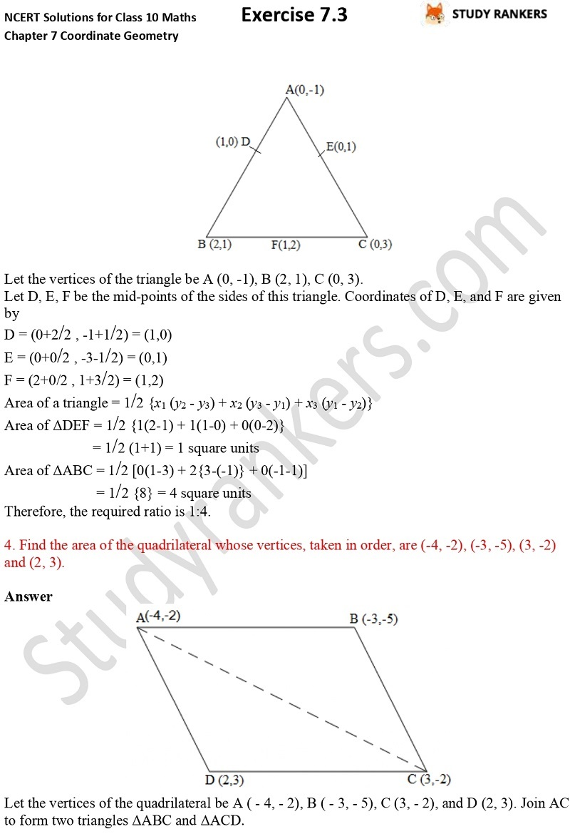 NCERT Solutions for Class 10 Maths Chapter 7 Coordinate Geometry Exercise 7.3 Part 2