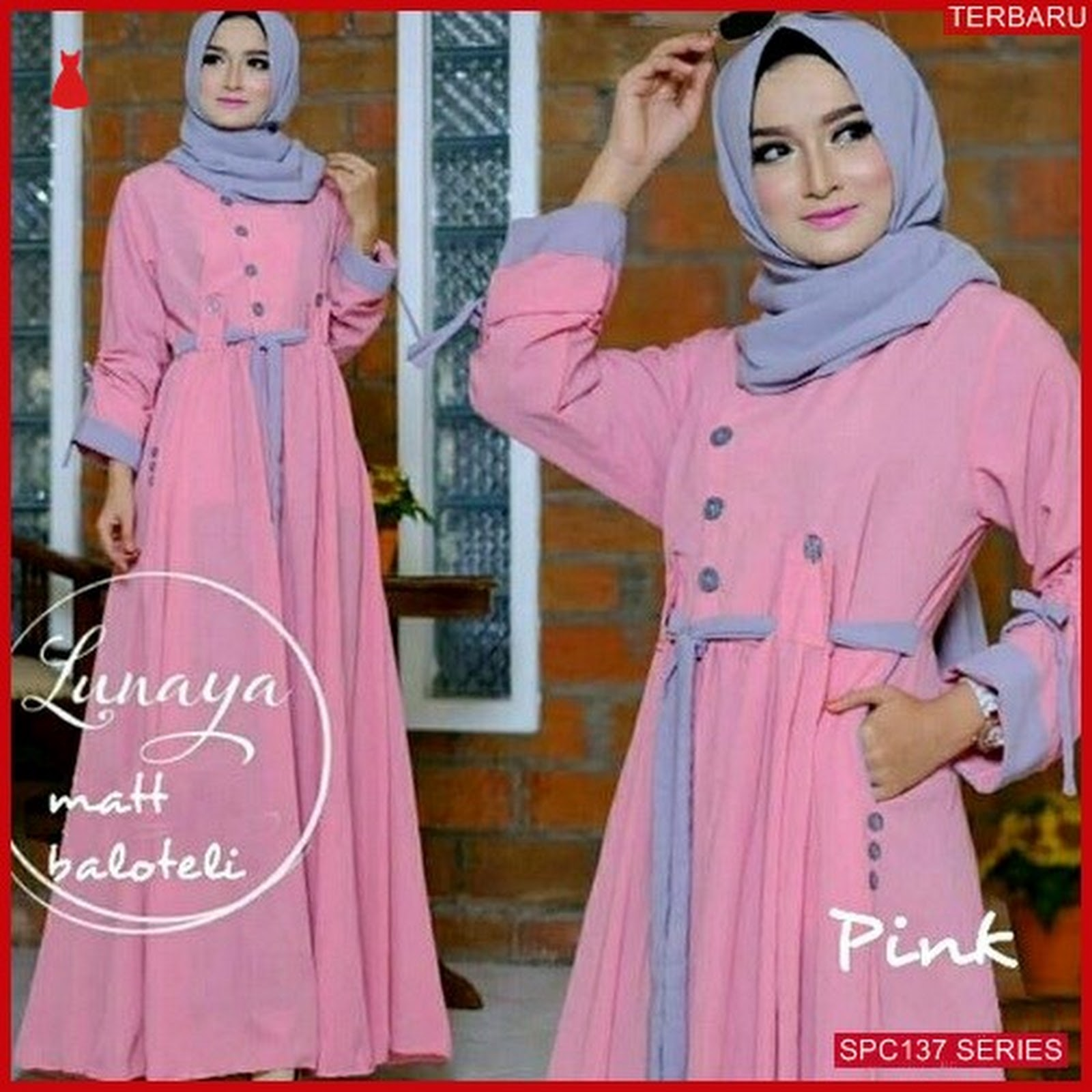 SPC137L49 Lunaya Maxy Syari Gamis Dress Muslim Wanita  97e27d8e11