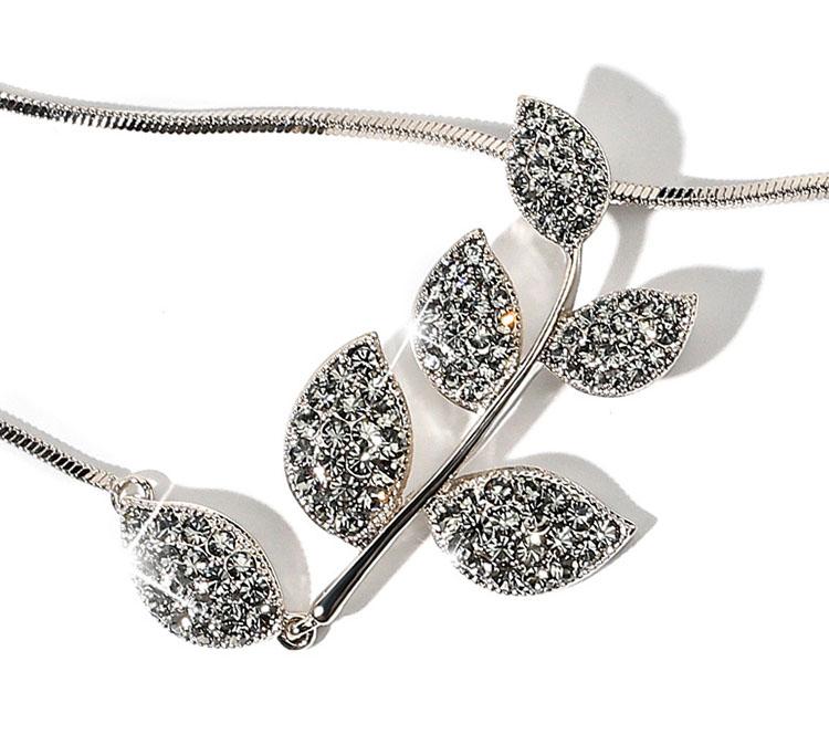 優雅葉子水鑽鋯石擬珍珠長鏈