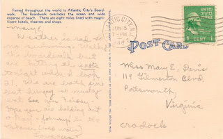 Postcard Atlantic City 1948 https://jollettetc.blogspot.com