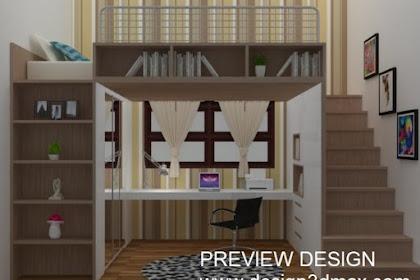 Jasa design kamar anak motif kayu mezzanin bawahnya tempat belajar