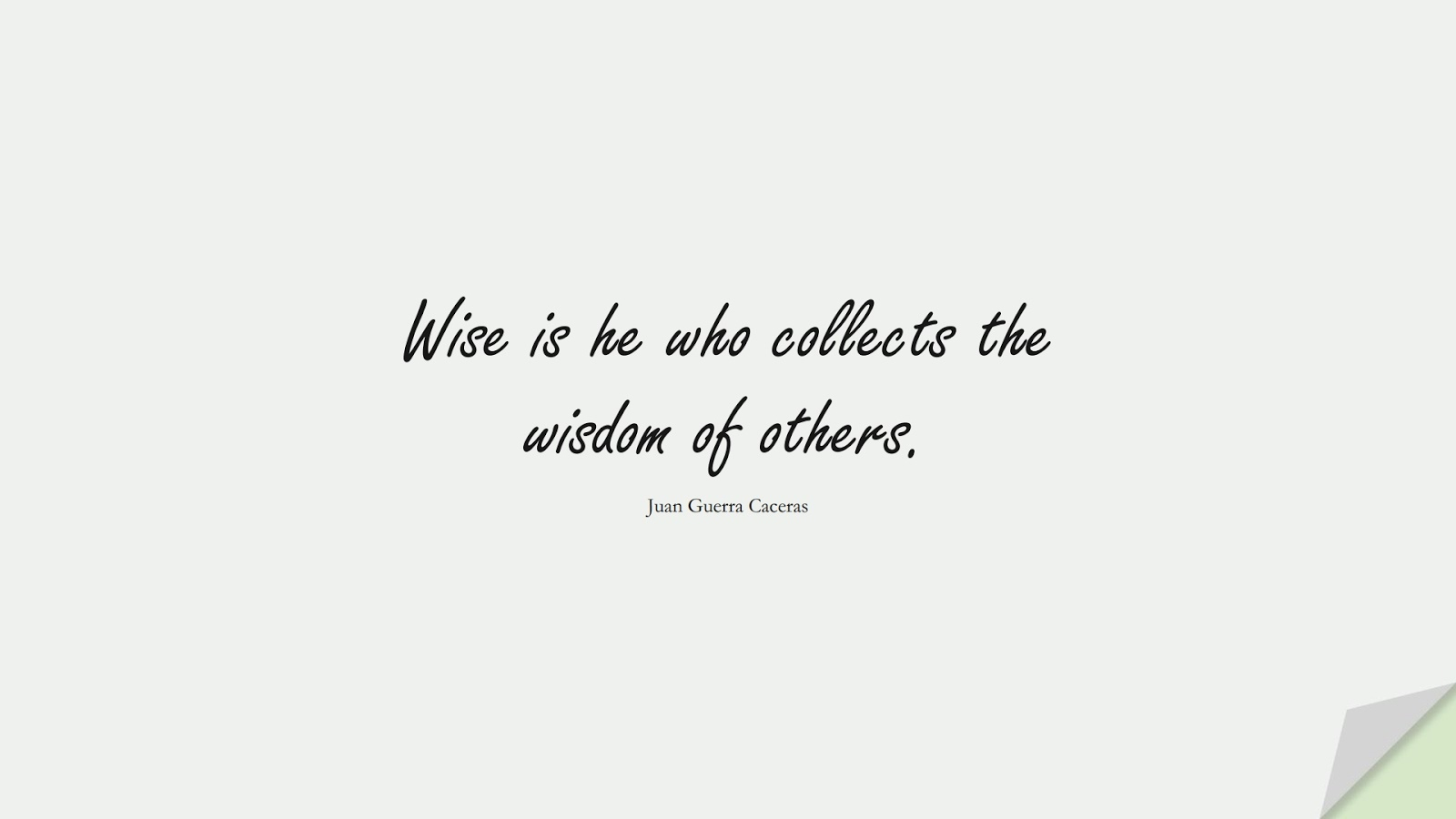 Wise is he who collects the wisdom of others. (Juan Guerra Caceras);  #ShortQuotes
