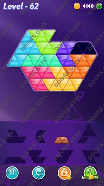 Block! Triangle Puzzle Expert Level 62 Solution, Cheats, Walkthrough for Android, iPhone, iPad and iPod