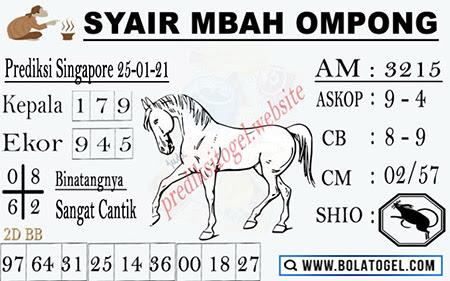 Syair Mbah Ompong SGP Senin 25-Jan-2021
