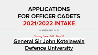 Applications For KDU Officer Cadets 2021/2022 Intake