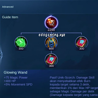 penjelasan lengkap item mobile legends item glowing wand