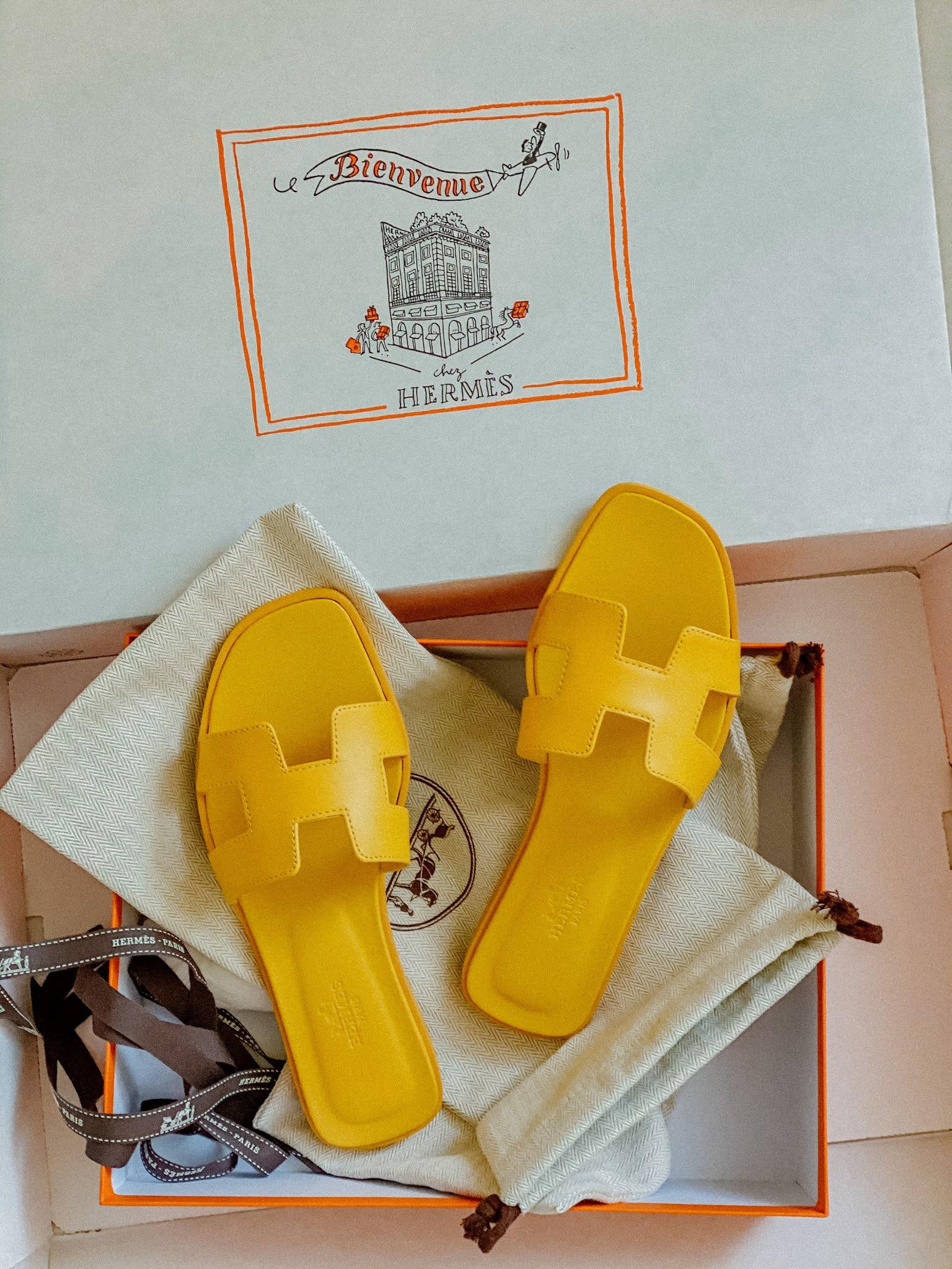 Hermes Yellow Oran Sandals