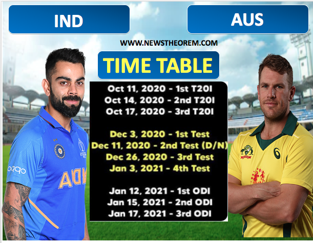 IND VS AUS :India will tour Australia in October, 3 T20Is - 4 Tests - 3 ODIS. Check the Time Table