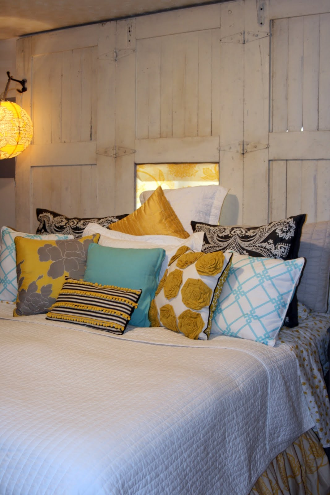 Black And White Pillows On Bed