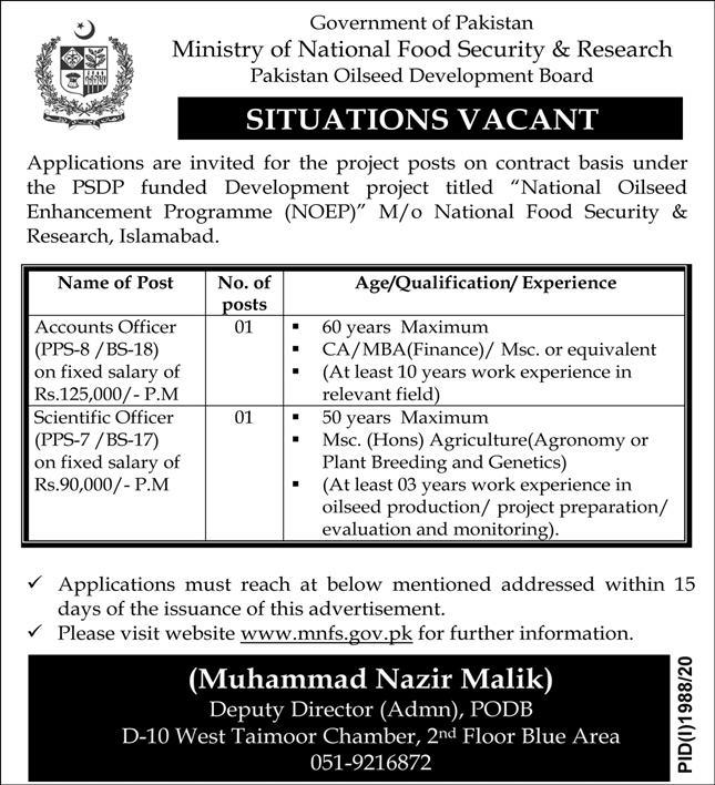 Ministry of National Food Security & Research Job Advertisement in Pakistan Jobs 2020 - 2021 - Apply Now - www.mnfs.gov.pk