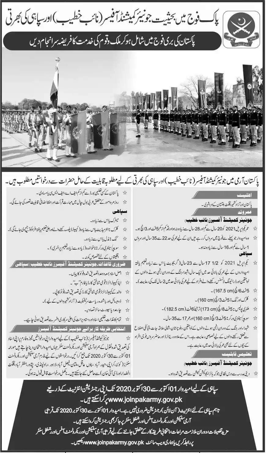 Join Pakistan Army as Soldier & Junior Commissioned Officer (Naib Khateeb)