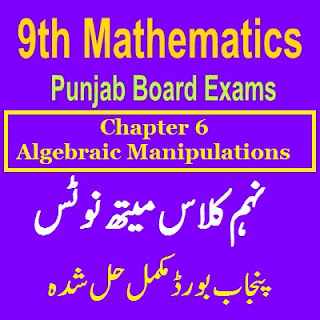 9th Class fully solved notes Algebraic Manipulations Notes