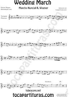 Trompeta y Fliscorno Partitura de La Marcha Nupcial de Wagner Sheet Music for Trumpet and Flugelhorn Music Scores