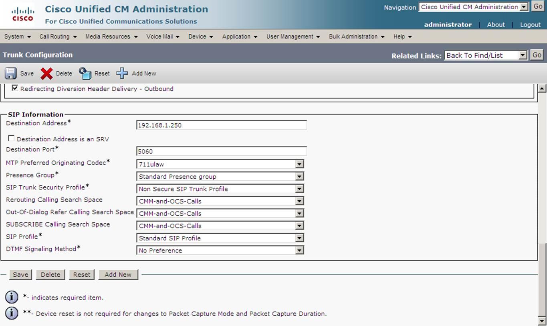 LYNC to CISCO CALL MANAGER integration