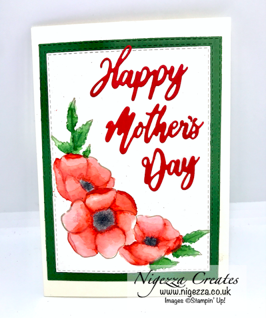 Nigezza Creates with Stampin' Up! & Painted Poppies a Watercolour Poppies Mother's Day Card
