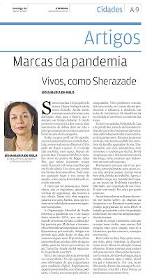 Artigo foi publicado no jornal  A Tribuna, de Santos, em  30 de agosto de 2020, na página Marcas da Pandemia.