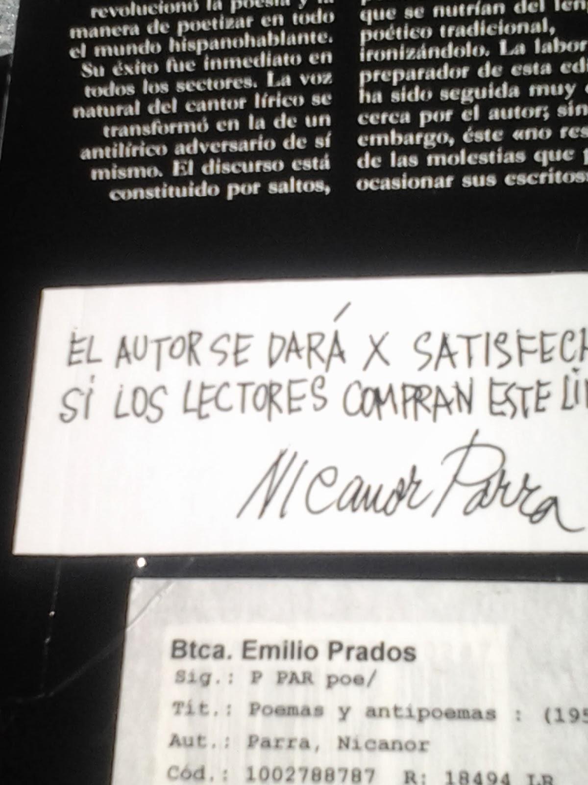 Poemas Y Antipoemas De Nicanor Parra La Revolución En La Poesía