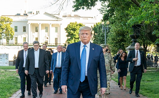 President Donald J. Trump walks from the White House Monday evening, June 1, 2020