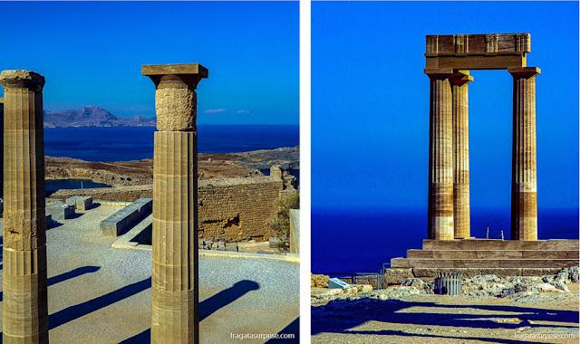 Colunas do Propileu e da Estoa da Acrópole de Lindos, Grécia