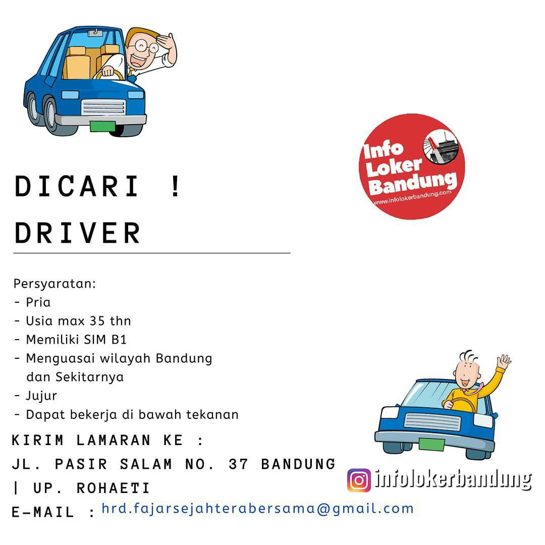 Lowongan Kerja Driver PT. Fajar Sejahtera Bersama Bandung Juli 2019