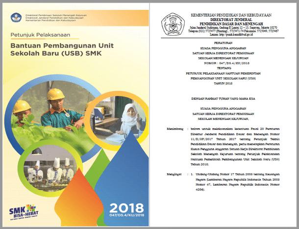 Berikut ini adalah berkas Juklak Bantuan Pembangunan Unit Sekolah Baru  Juklak Bantuan Pembangunan Unit Sekolah Baru (USB) SMK Tahun 2018