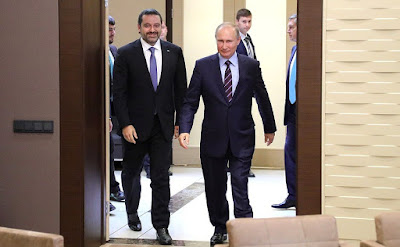 Vladimir Putin with Prime Minister of Lebanon Saad Hariri.