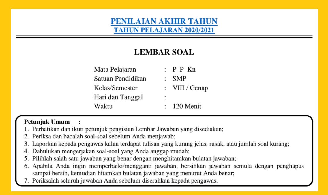 gambar SOAL PAT PKN KELAS 8 2021
