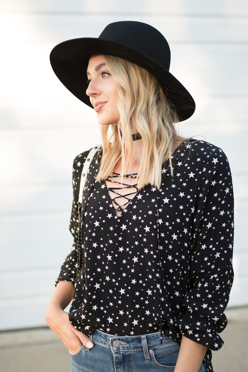 Star print lace-up top