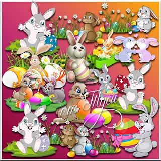 Clipart para Páscoa - coelhos e Ovos de Páscoa