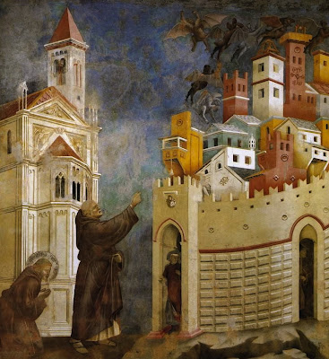 Giotto di Bondone's fresco: The Expulsion of the Devils From Arezzo.