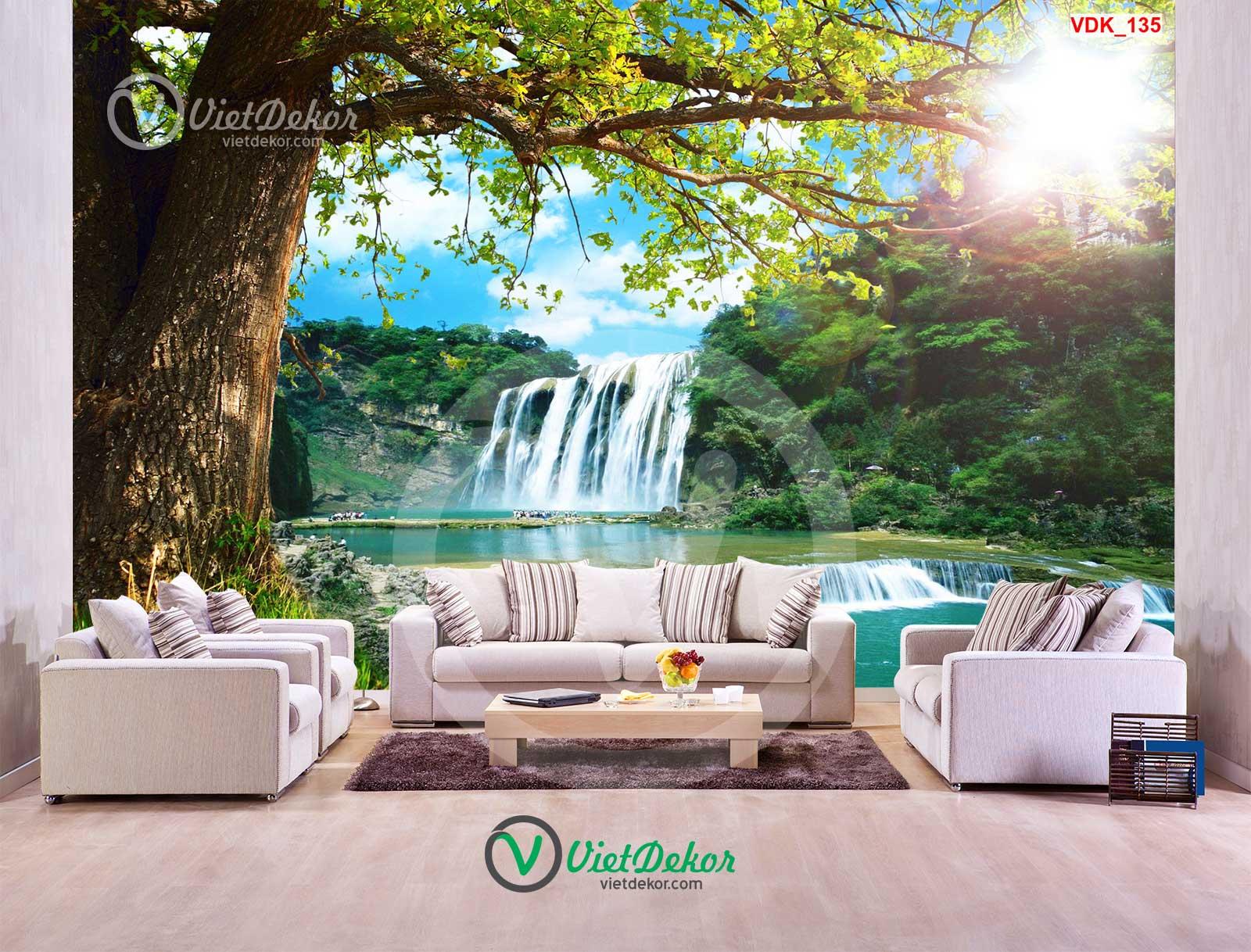 Tranh dán tường 3d cây lớn thác nước