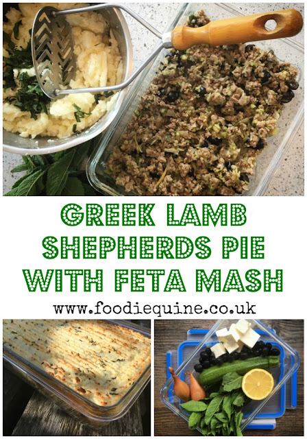 www.foodiequine.co.uk A perfect dish to make ahead or freeze, go Greek with a Mediterranean twist on the traditional Shepherds Pie. The lamb mince base combines the Greek flavours of olives, courgettes, lemon and cinnamon topped off to perfection with a feta cheese mash and a hint of mint.