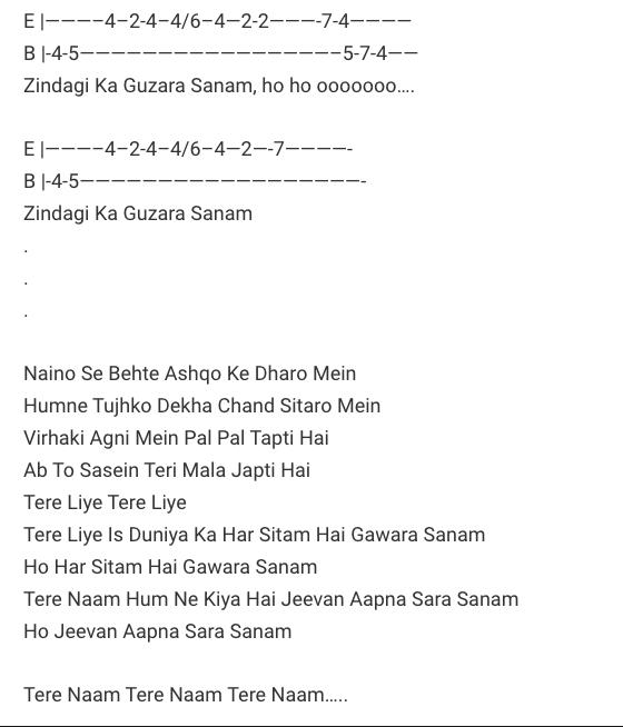 Tere Naam Humne Kiya Hai Tab / Tere Naam / Guitar Tabs / Salman Khan / Lead Notes / Hindi Songs Tabs / Udit Narayan / Best of Bollywood / Love Song / Tere Naam Movie