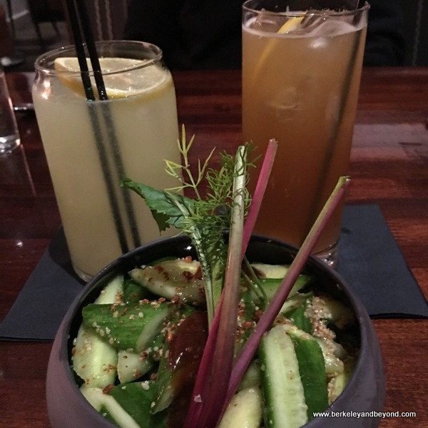 cocktails and spicy cucumbers at Urban Tavern at Hilton San Francisco Union Square in San Francisco, California