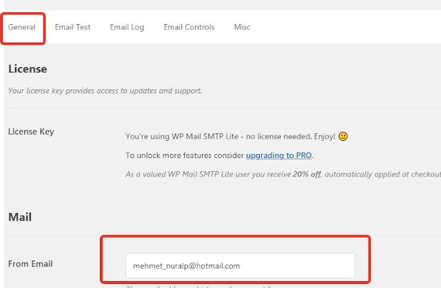 wp mail ayarları