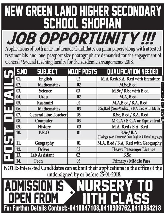 New Green Land Higher Secondary School Shopian has job vacancies