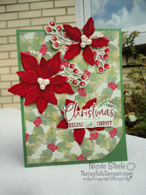 poinsettia place, poinsettia dies, christmas, handmade christmas cards, stampin' up!, how to make a card, cardmaking tutorials, cardmaking videos, papercrafting, scrapbooking, velvet, nicole steele, the joyful stamper, independent stampin' up! demonstrator from pittsburgh pa
