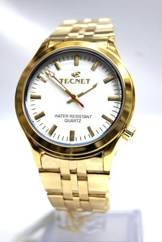 5dab0fb6a830e Relógios Tecnet Dourado - LOJAS TEM TUDO