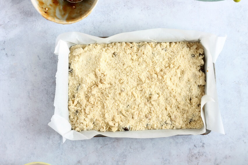 Mincemeat crumble slice ready for the oven