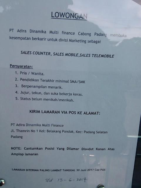 Lowongan Kerja Padang: PT. Adira Dinamika Multi Finance Juni 2017