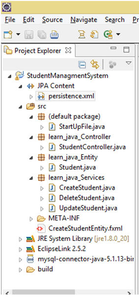 Project Hierarchy JPA with JavaFX
