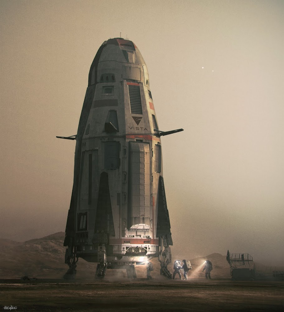 Mars ascent vehicle concept by Alex Nice (for The First TV series)