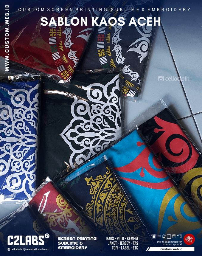 Sablon Kaos Aceh Ornament - Sablon Kaos Wisata