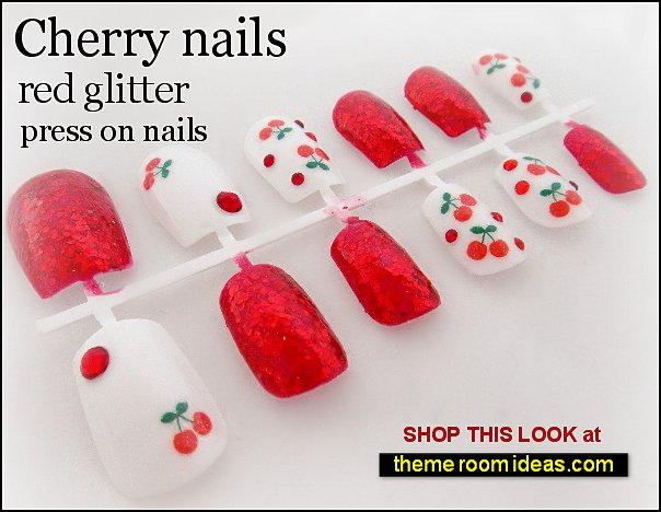 cherry nails, red glitter press on nails red Cherries Green Leaves  nail Stickers fruit nails