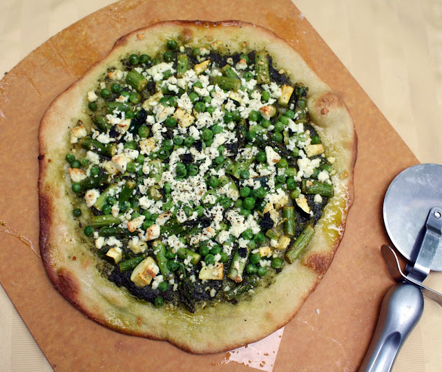 Pea and Asparagus Pesto Pizza